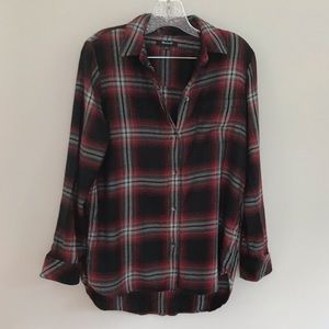 Madewell Red and Black Flannel Button Up